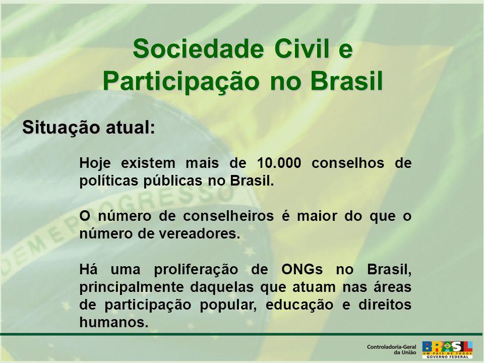 Hoje existem mais de 10.000 conselhos de políticas públicas no Brasil.