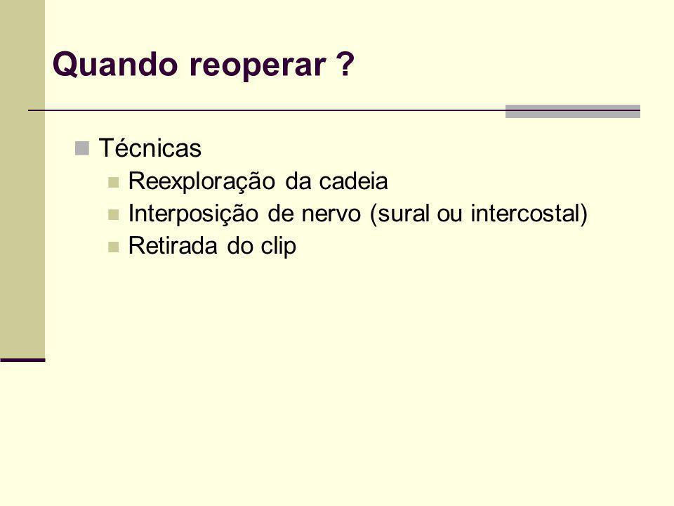 Quando reoperar ? Técnicas Reexploração da cadeia Interposição de nervo (sural ou intercostal) Retirada do clip