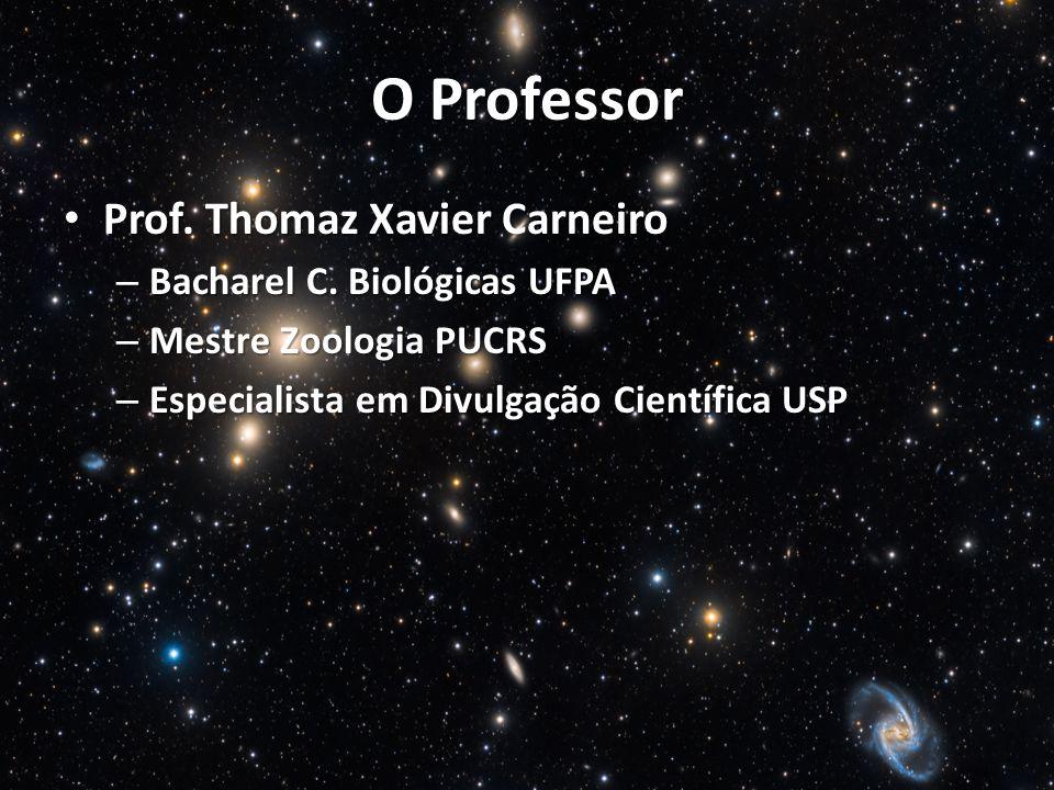 O Professor Prof. Thomaz Xavier Carneiro Prof. Thomaz Xavier Carneiro – Bacharel C. Biológicas UFPA – Mestre Zoologia PUCRS – Especialista em Divulgaç