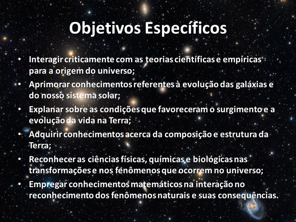 Objetivos Específicos Interagir criticamente com as teorias científicas e empíricas para a origem do universo; Interagir criticamente com as teorias c