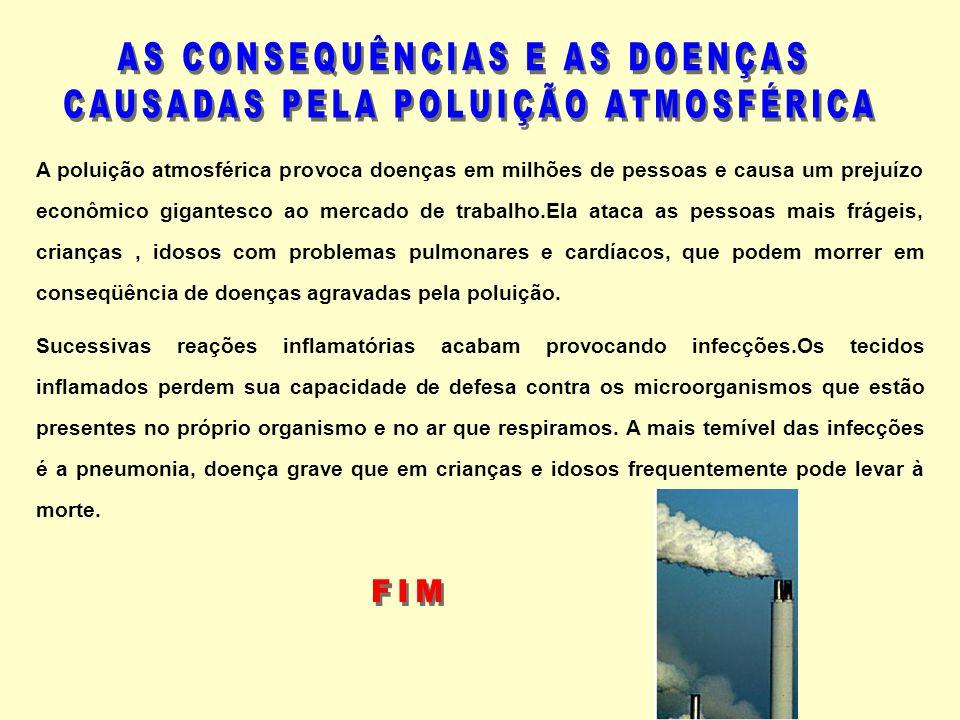 A poluição atmosférica provoca doenças em milhões de pessoas e causa um prejuízo econômico gigantesco ao mercado de trabalho.Ela ataca as pessoas mais