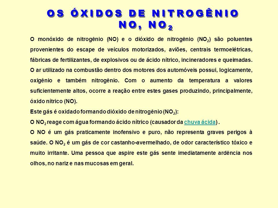 O monóxido de nitrogênio (NO) e o dióxido de nitrogênio (NO 2 ) são poluentes provenientes do escape de veículos motorizados, aviões, centrais termoel