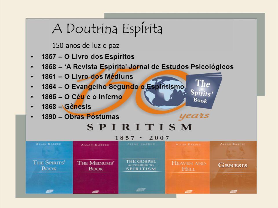 1868 1857 – O Livro dos Espíritos 1858 – A Revista Espírita Jornal de Estudos Psicológicos 1861 – O Livro dos Médiuns 1864 – O Evangelho Segundo o Esp