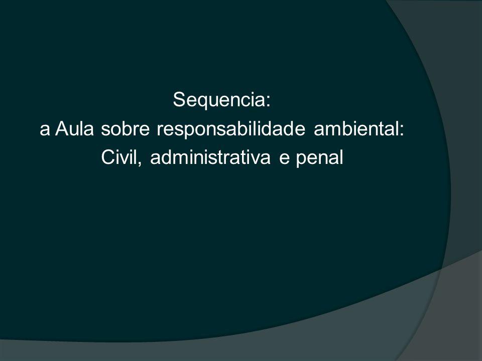 Sequencia: a Aula sobre responsabilidade ambiental: Civil, administrativa e penal