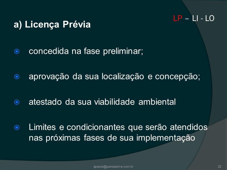 apanizi@paniziesilva.com.br22 LP – LI - LO a) Licença Prévia concedida na fase preliminar; aprovação da sua localização e concepção; atestado da sua v