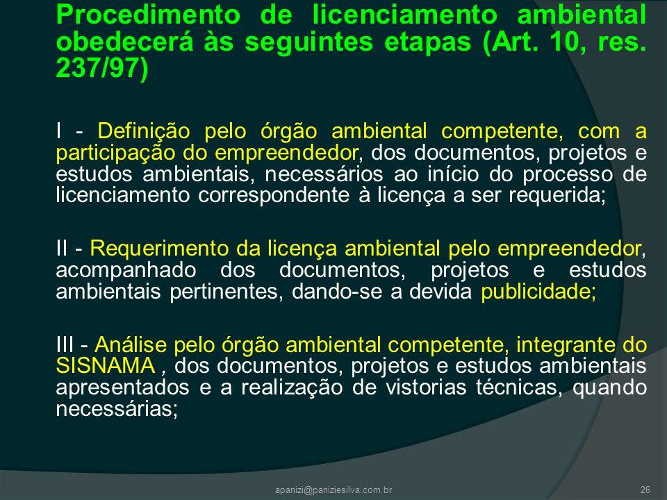 apanizi@paniziesilva.com.br26 Procedimento de licenciamento ambiental obedecerá às seguintes etapas (Art. 10, res. 237/97) I - Definição pelo órgão am