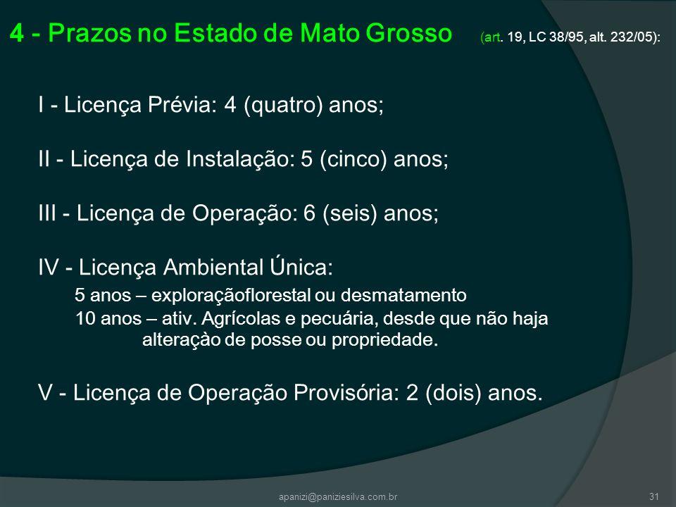 apanizi@paniziesilva.com.br31 4 - Prazos no Estado de Mato Grosso (art. 19, LC 38/95, alt. 232/05): I - Licen ç a Pr é via: 4 (quatro) anos; II - Lice