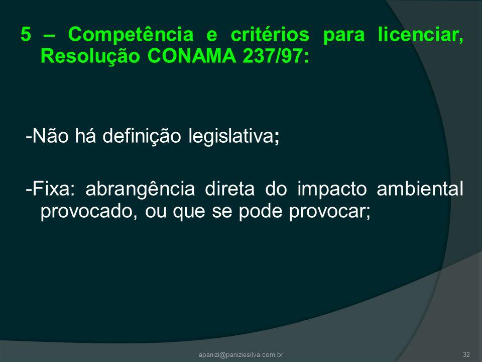 apanizi@paniziesilva.com.br32 5 – Competência e critérios para licenciar, Resolução CONAMA 237/97: -Não há definição legislativa; -Fixa: abrangência d