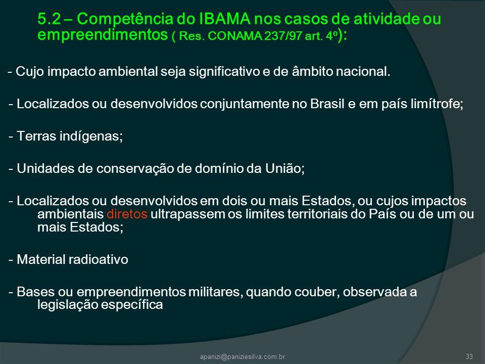 apanizi@paniziesilva.com.br33 5.2 – Competência do IBAMA nos casos de atividade ou empreendimentos ( Res. CONAMA 237/97 art. 4º ): - Cujo impacto ambi