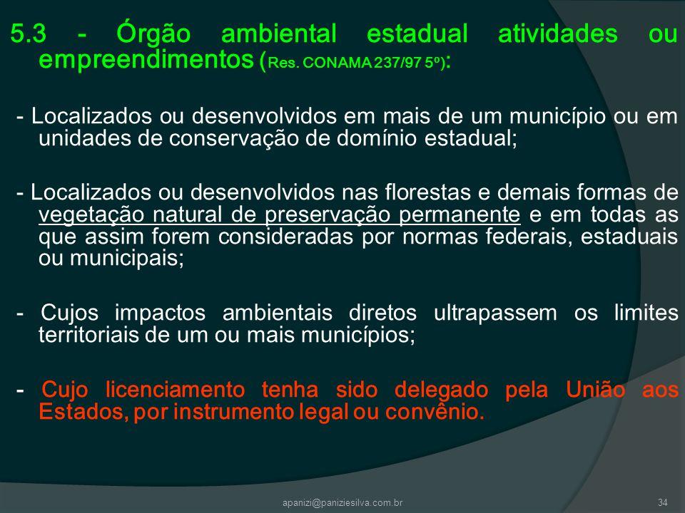 apanizi@paniziesilva.com.br34 5.3 - Órgão ambiental estadual atividades ou empreendimentos ( Res. CONAMA 237/97 5º) : - Localizados ou desenvolvidos e