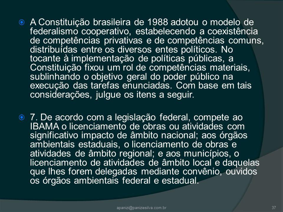 apanizi@paniziesilva.com.br37 A Constituição brasileira de 1988 adotou o modelo de federalismo cooperativo, estabelecendo a coexistência de competênci