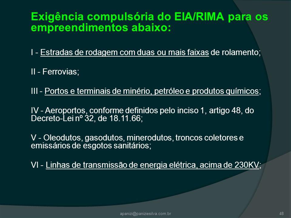 apanizi@paniziesilva.com.br48 Exigência compulsória do EIA/RIMA para os empreendimentos abaixo: I - Estradas de rodagem com duas ou mais faixas de rol