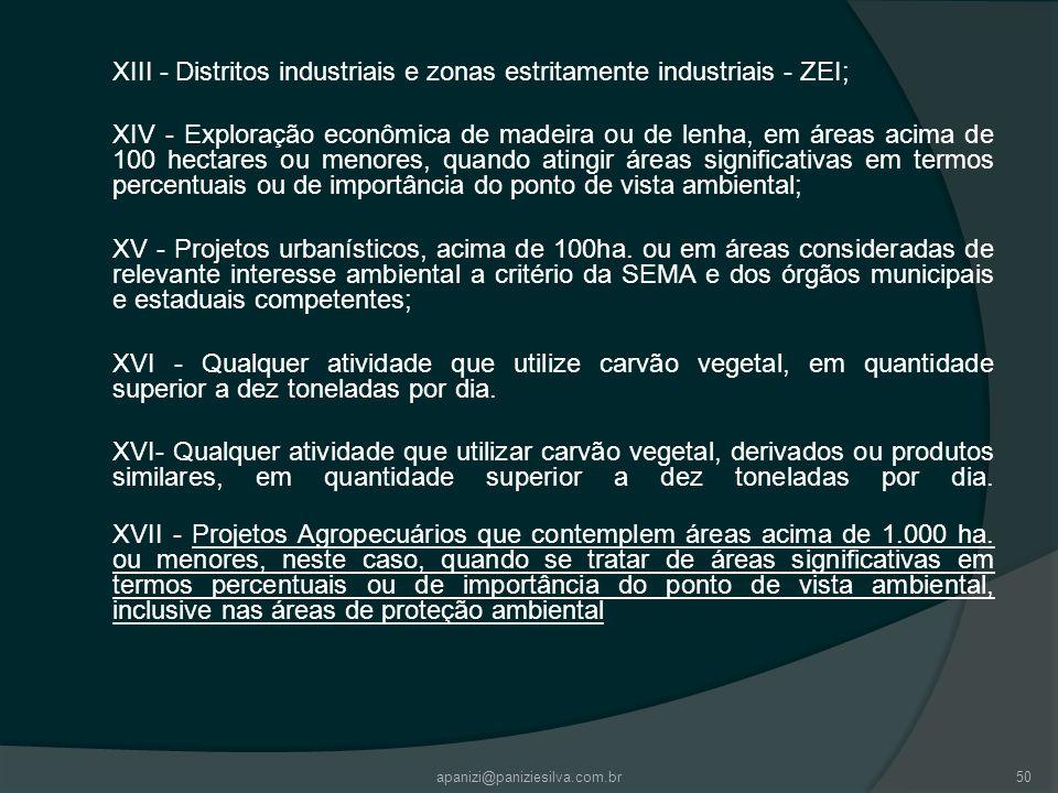 apanizi@paniziesilva.com.br50 XIII - Distritos industriais e zonas estritamente industriais - ZEI; XIV - Exploração econômica de madeira ou de lenha,