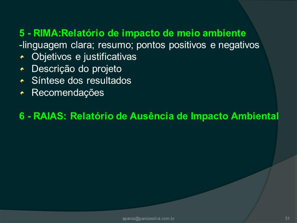 apanizi@paniziesilva.com.br51 5 - RIMA:Relatório de impacto de meio ambiente -linguagem clara; resumo; pontos positivos e negativos Objetivos e justif