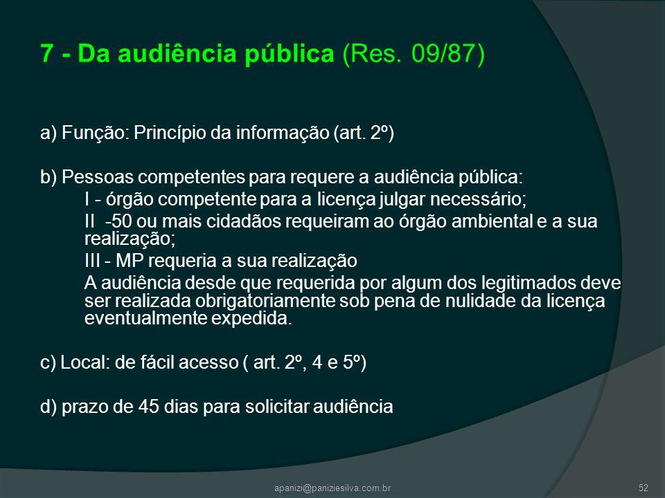apanizi@paniziesilva.com.br52 7 - Da audiência pública (Res. 09/87) a) Função: Princípio da informação (art. 2º) b) Pessoas competentes para requere a