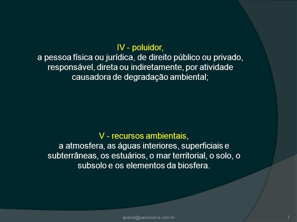 7 IV - poluidor, a pessoa física ou jurídica, de direito público ou privado, responsável, direta ou indiretamente, por atividade causadora de degradaç
