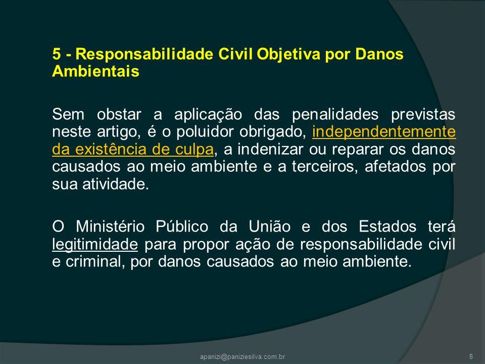 5 - Responsabilidade Civil Objetiva por Danos Ambientais Sem obstar a aplicação das penalidades previstas neste artigo, é o poluidor obrigado, indepen