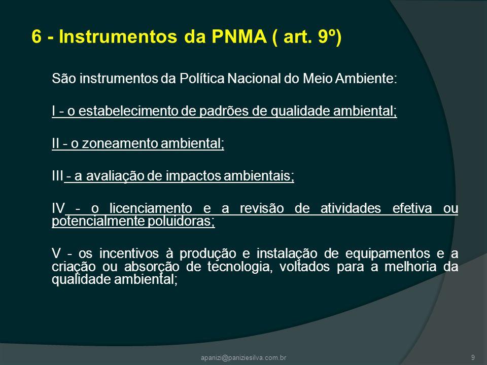 6 - Instrumentos da PNMA ( art. 9º) São instrumentos da Política Nacional do Meio Ambiente: I - o estabelecimento de padrões de qualidade ambiental; I