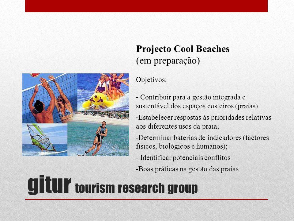 gitur tourism research group Projecto Cool Beaches (em preparação) Objetivos: - Contribuir para a gestão integrada e sustentável dos espaços costeiros (praias) -Estabelecer respostas às prioridades relativas aos diferentes usos da praia; -Determinar baterias de indicadores (factores físicos, biológicos e humanos); - Identificar potenciais conflitos -Boas práticas na gestão das praias
