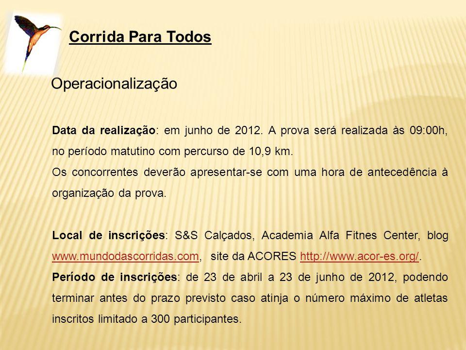 Corrida Para Todos Operacionalização Data da realização: em junho de 2012. A prova será realizada às 09:00h, no período matutino com percurso de 10,9