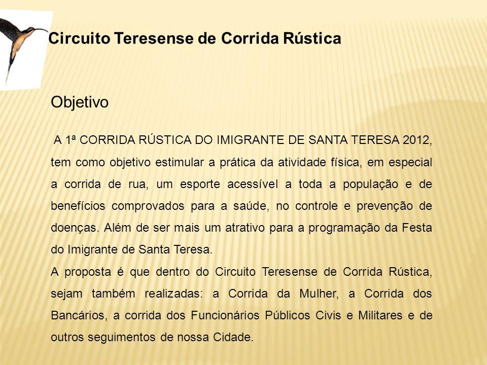 Circuito Teresense de Corrida Rústica Objetivo A 1ª CORRIDA RÚSTICA DO IMIGRANTE DE SANTA TERESA 2012, tem como objetivo estimular a prática da ativid