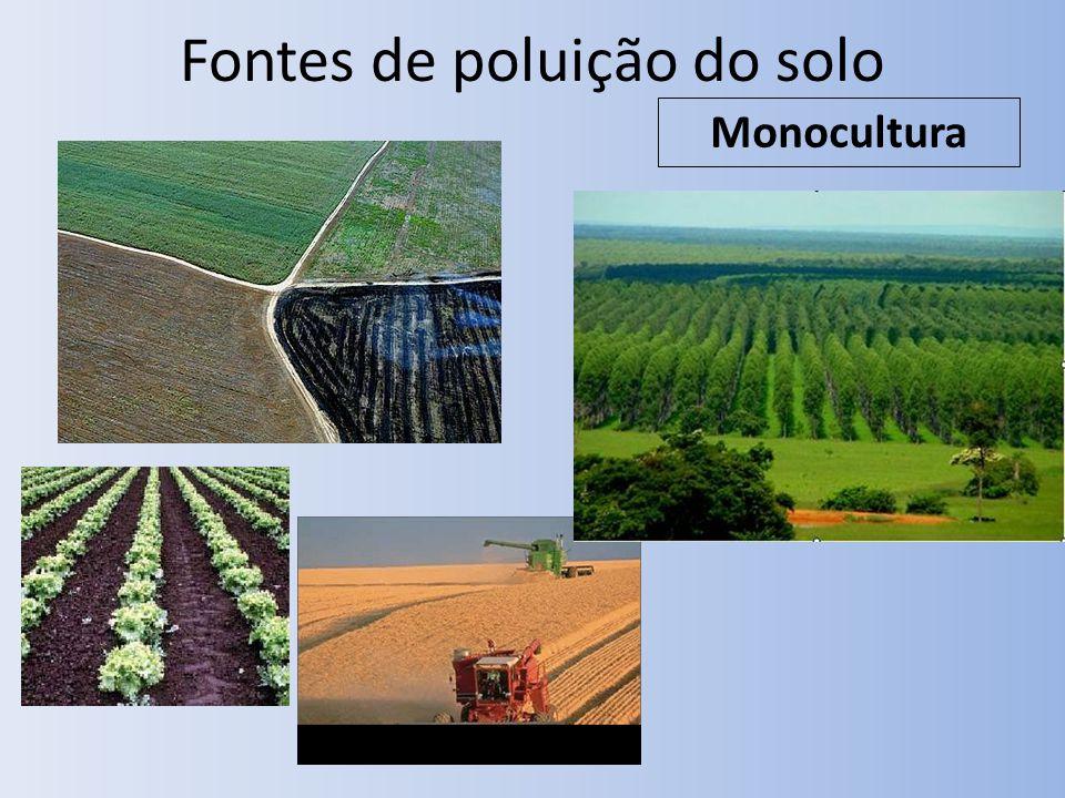 Fontes de poluição do solo Monocultura