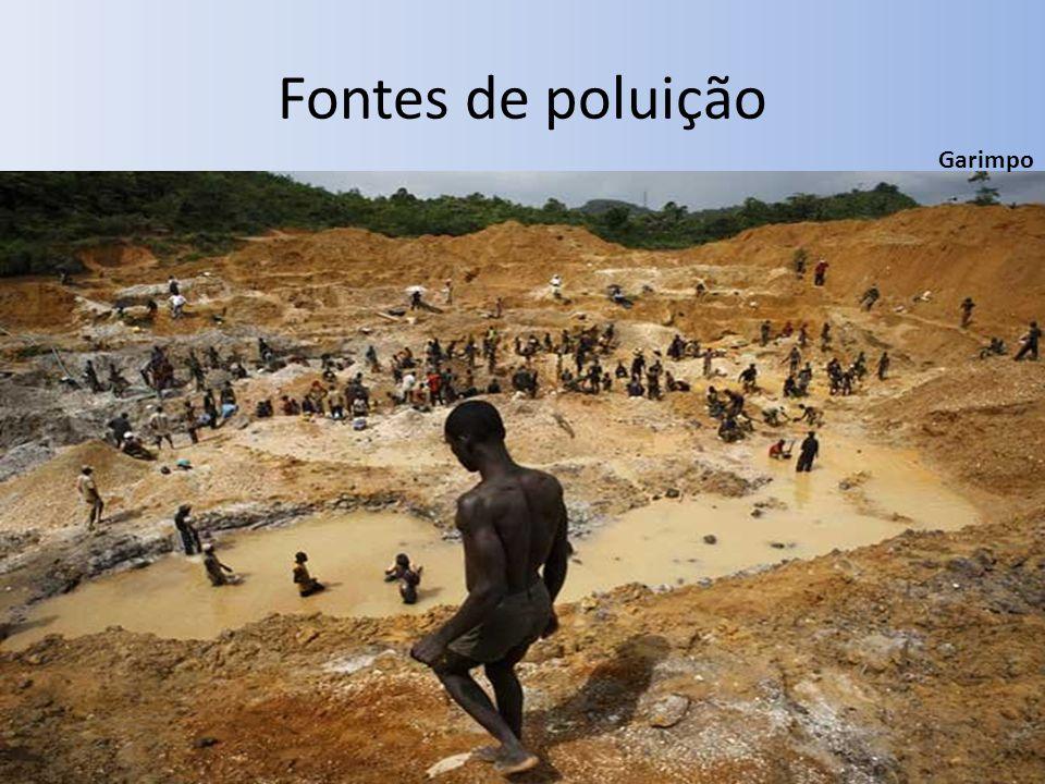 Fontes de poluição Garimpo