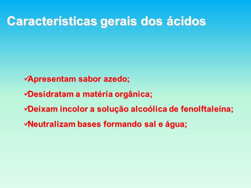Características gerais dos ácidos Apresentam sabor azedo; Apresentam sabor azedo; Desidratam a matéria orgânica; Desidratam a matéria orgânica; Deixam incolor a solução alcoólica de fenolftaleína; Deixam incolor a solução alcoólica de fenolftaleína; Neutralizam bases formando sal e água; Neutralizam bases formando sal e água;