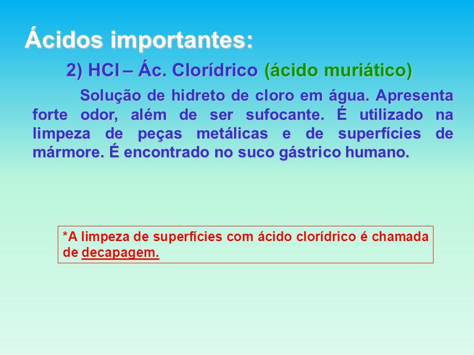 2) HCl – Ác.Clorídrico (ácido muriático) Solução de hidreto de cloro em água.
