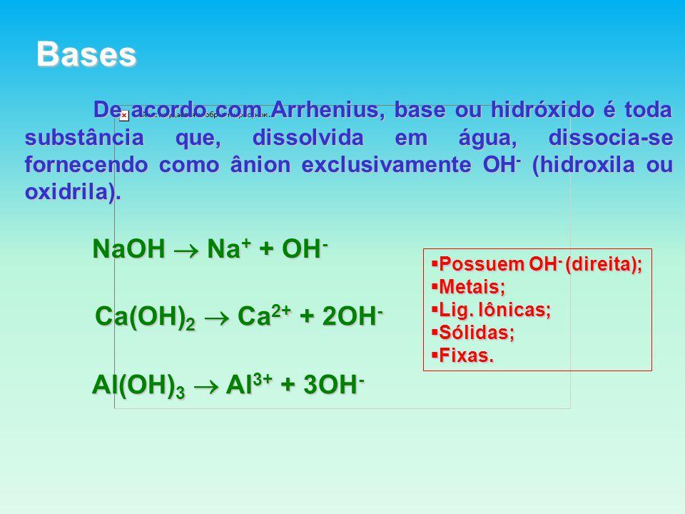 Bases De acordo com Arrhenius, base ou hidróxido é toda substância que, dissolvida em água, dissocia-se fornecendo como ânion exclusivamente OH - (hidroxila ou oxidrila).