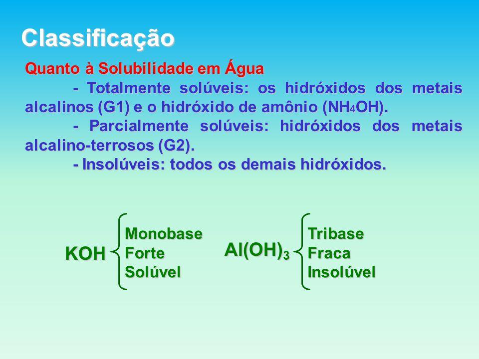 Classificação Quanto à Solubilidade em Água - Totalmente solúveis: os hidróxidos dos metais alcalinos (G1) e o hidróxido de amônio (NH 4 OH).
