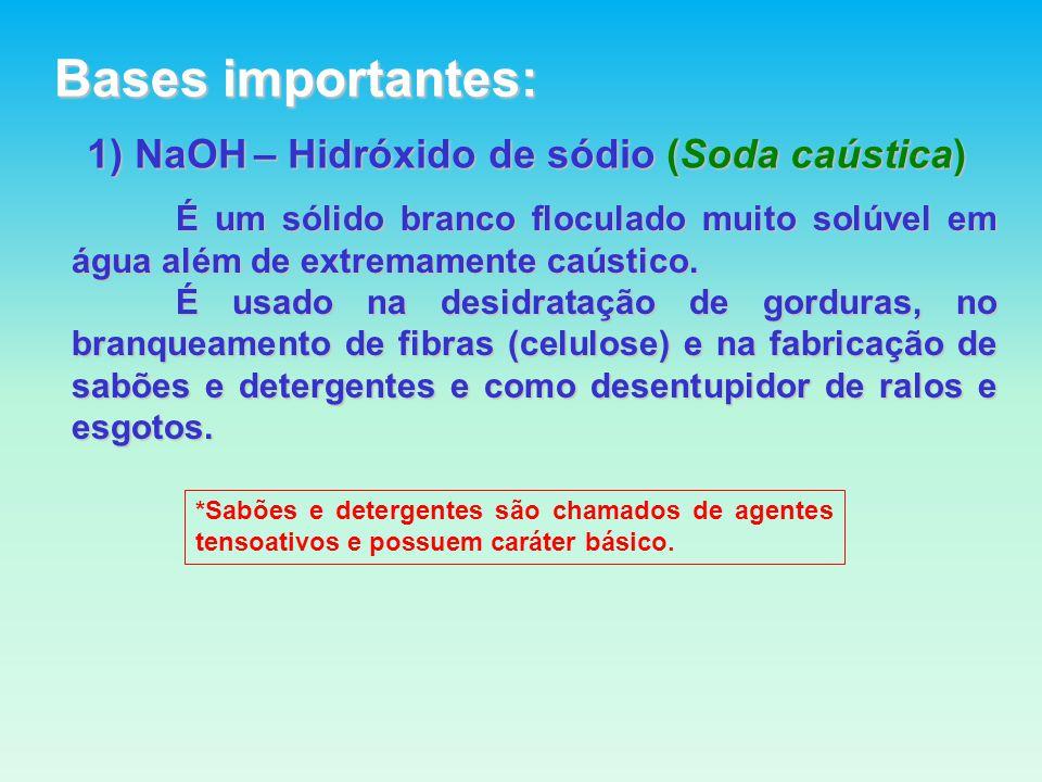 1) NaOH – Hidróxido de sódio (Soda caústica) É um sólido branco floculado muito solúvel em água além de extremamente caústico.