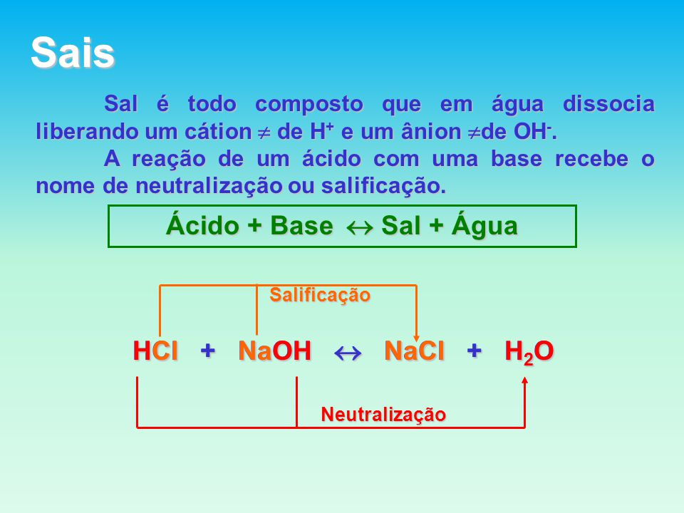 Sais Sal é todo composto que em água dissocia liberando um cátion de H + e um ânion de OH -.