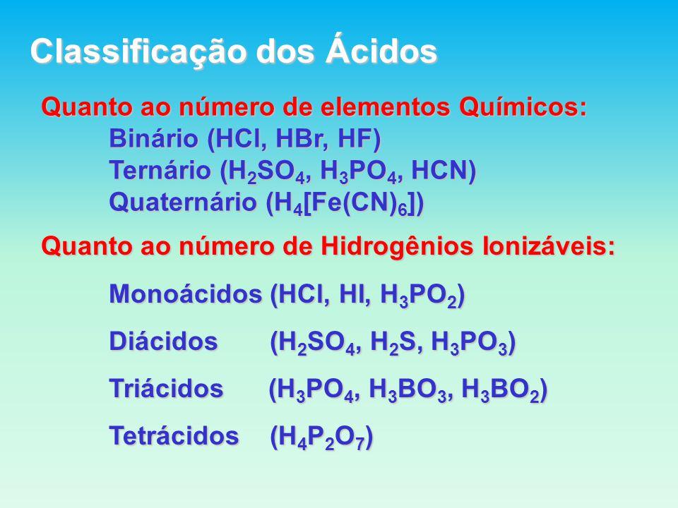 Quanto ao Grau de Ionização ( ) Ácidos fracos: 0< < 5% Ácidos moderados: 5% 50% Ácidos fortes : 50% < < 100% Nº de Mol Ionizados Nº de Mol Ionizados = = Nº Inicial de Mols Nº Inicial de Mols Ácido fraco: HClO Ácido moderado: H 3 PO 4 Ácido forte : H 2 SO 4 HClO 4 HClO 4