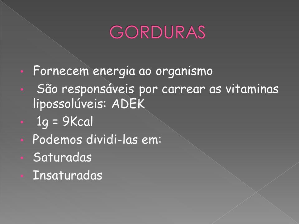 Fornecem energia ao organismo São responsáveis por carrear as vitaminas lipossolúveis: ADEK 1g = 9Kcal Podemos dividi-las em: Saturadas Insaturadas