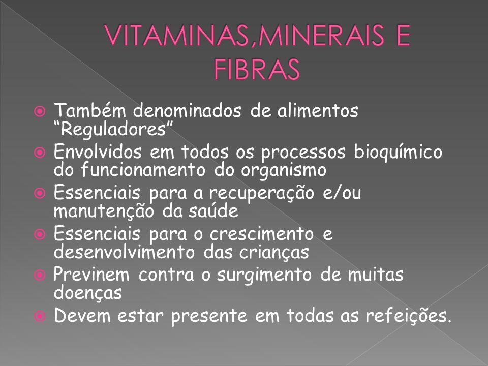 Também denominados de alimentos Reguladores Envolvidos em todos os processos bioquímico do funcionamento do organismo Essenciais para a recuperação e/