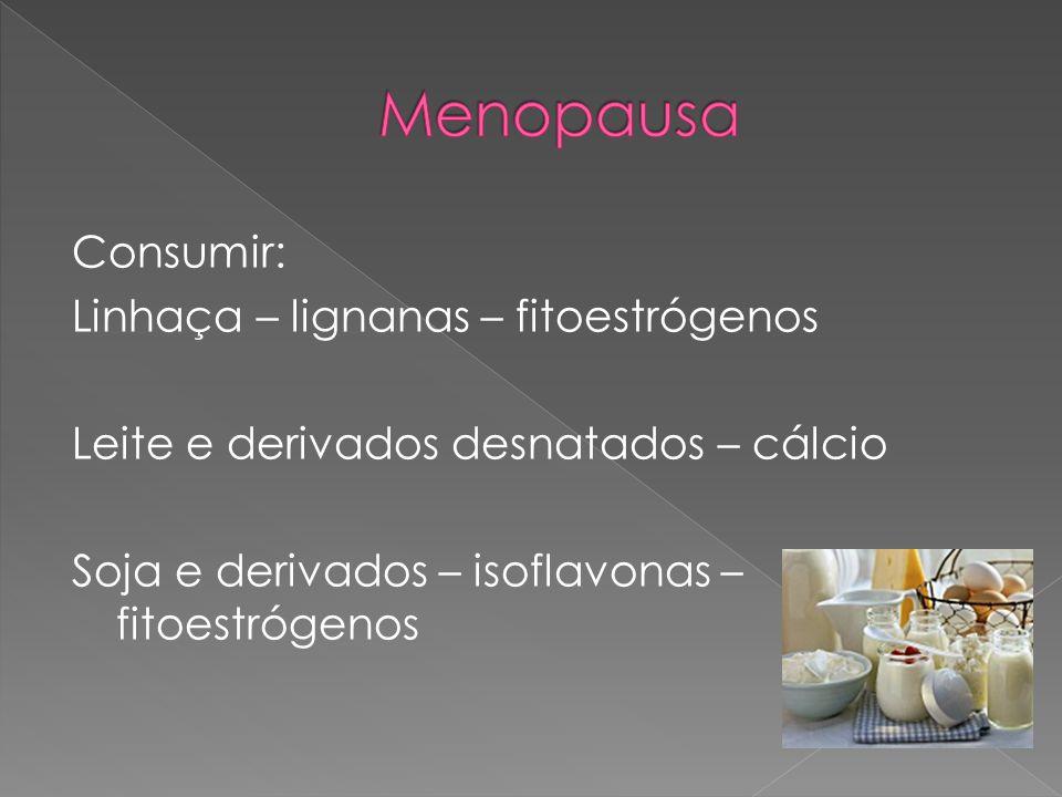 Consumir: Linhaça – lignanas – fitoestrógenos Leite e derivados desnatados – cálcio Soja e derivados – isoflavonas – fitoestrógenos