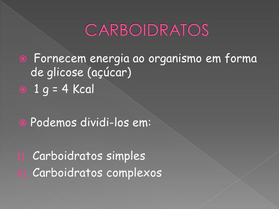 Fornecem energia ao organismo em forma de glicose (açúcar) 1 g = 4 Kcal Podemos dividi-los em: 1) Carboidratos simples 2) Carboidratos complexos