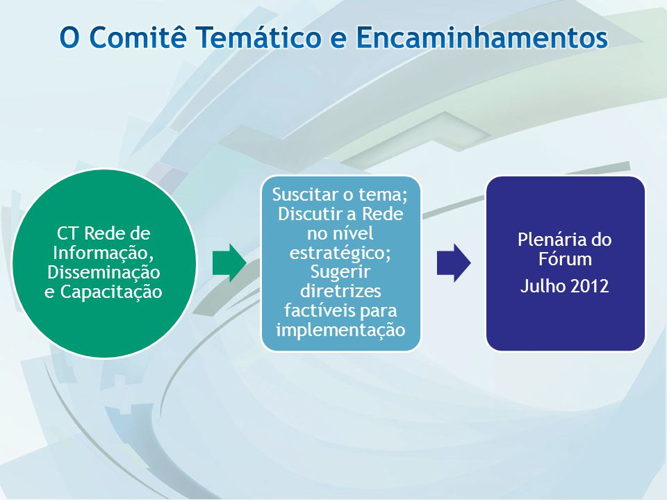 CT Rede de Informação, Disseminação e Capacitação Suscitar o tema; Discutir a Rede no nível estratégico; Sugerir diretrizes factíveis para implementação Plenária do Fórum Julho 2012
