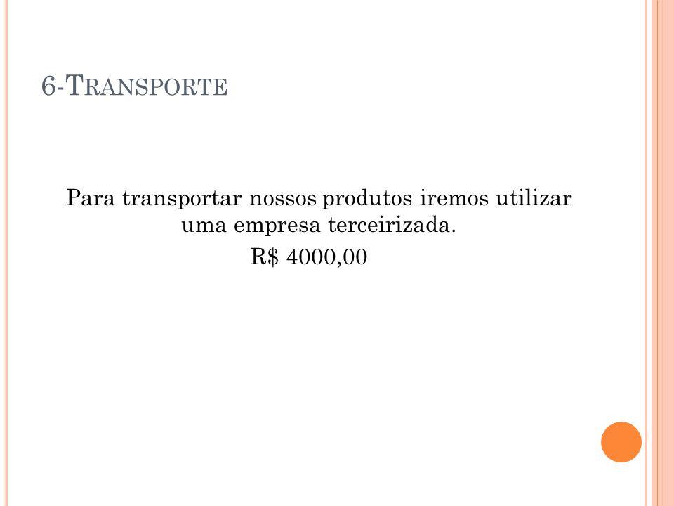 6-T RANSPORTE Para transportar nossos produtos iremos utilizar uma empresa terceirizada. R$ 4000,00
