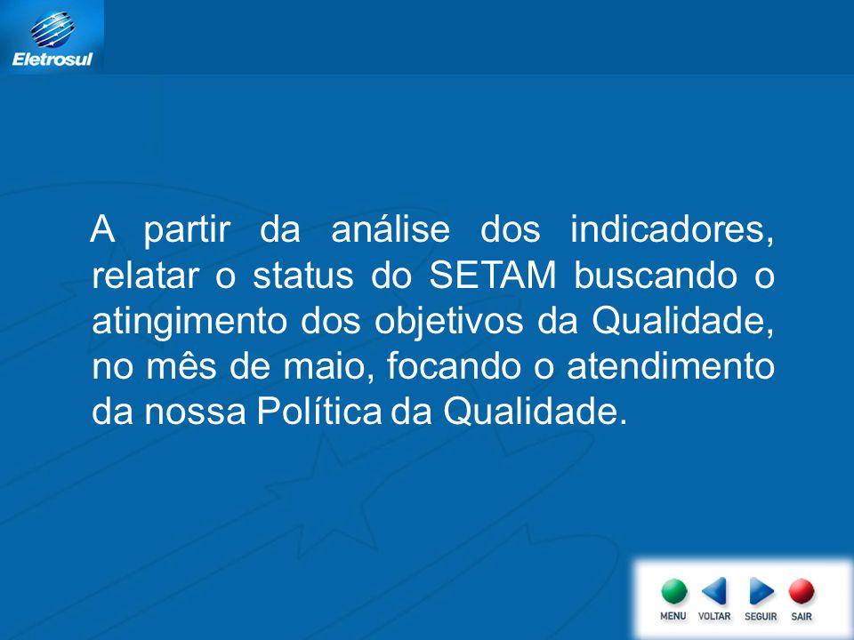 A partir da análise dos indicadores, relatar o status do SETAM buscando o atingimento dos objetivos da Qualidade, no mês de maio, focando o atendimento da nossa Política da Qualidade.