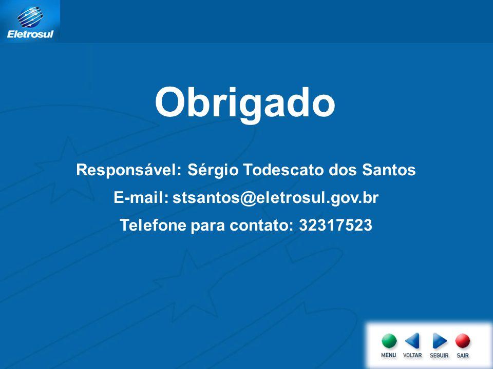 Obrigado Responsável: Sérgio Todescato dos Santos E-mail: stsantos@eletrosul.gov.br Telefone para contato: 32317523