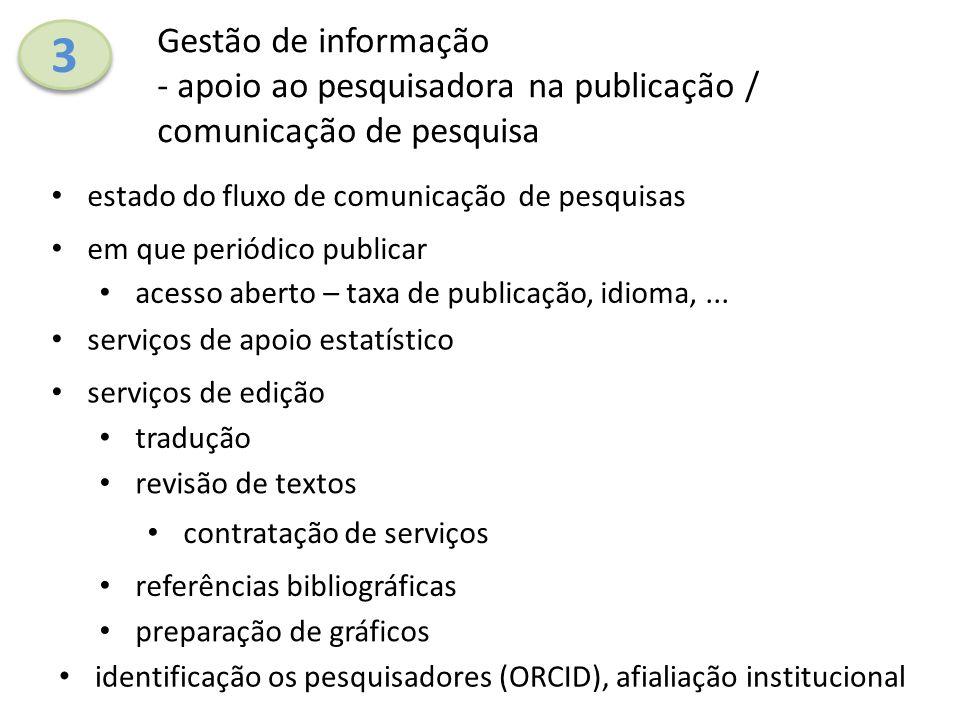 3 3 Gestão de informação - apoio ao pesquisadora na publicação / comunicação de pesquisa estado do fluxo de comunicação de pesquisas serviços de ediçã