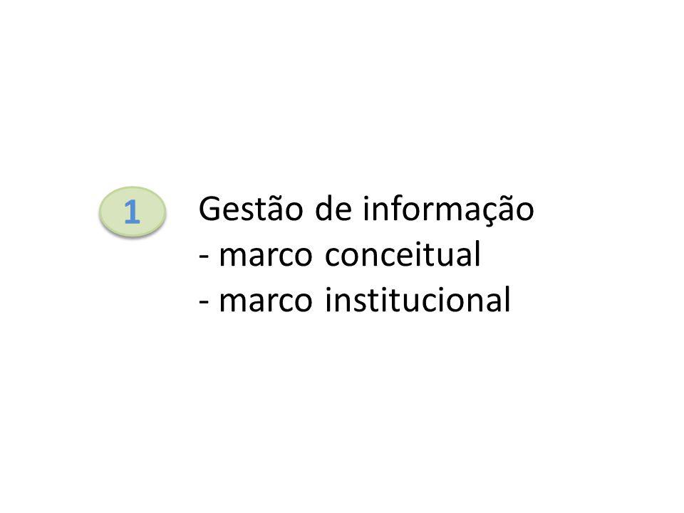 1 1 Gestão de informação - marco conceitual - marco institucional