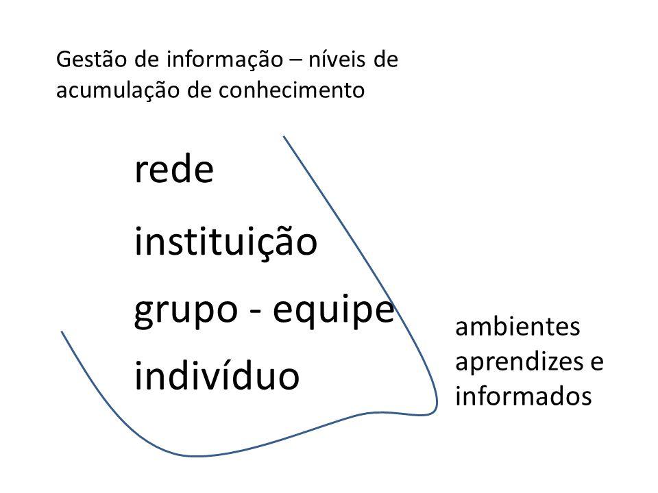 Gestão de informação – níveis de acumulação de conhecimento indivíduo grupo - equipe instituição rede ambientes aprendizes e informados