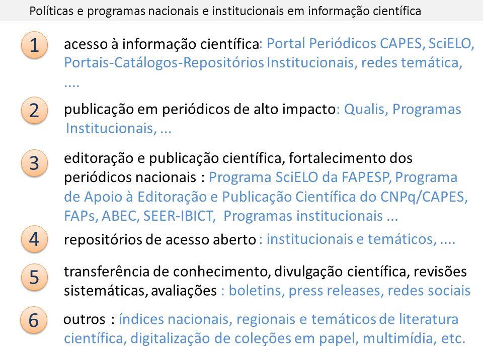 Políticas e programas nacionais e institucionais em informação científica 1 1 acesso à informação científica 2 2 publicação em periódicos de alto impa