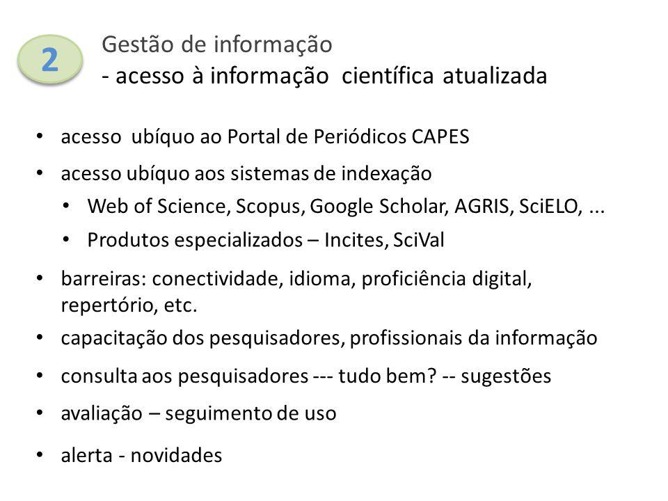 Gestão de informação - acesso à informação científica atualizada acesso ubíquo ao Portal de Periódicos CAPES capacitação dos pesquisadores, profission