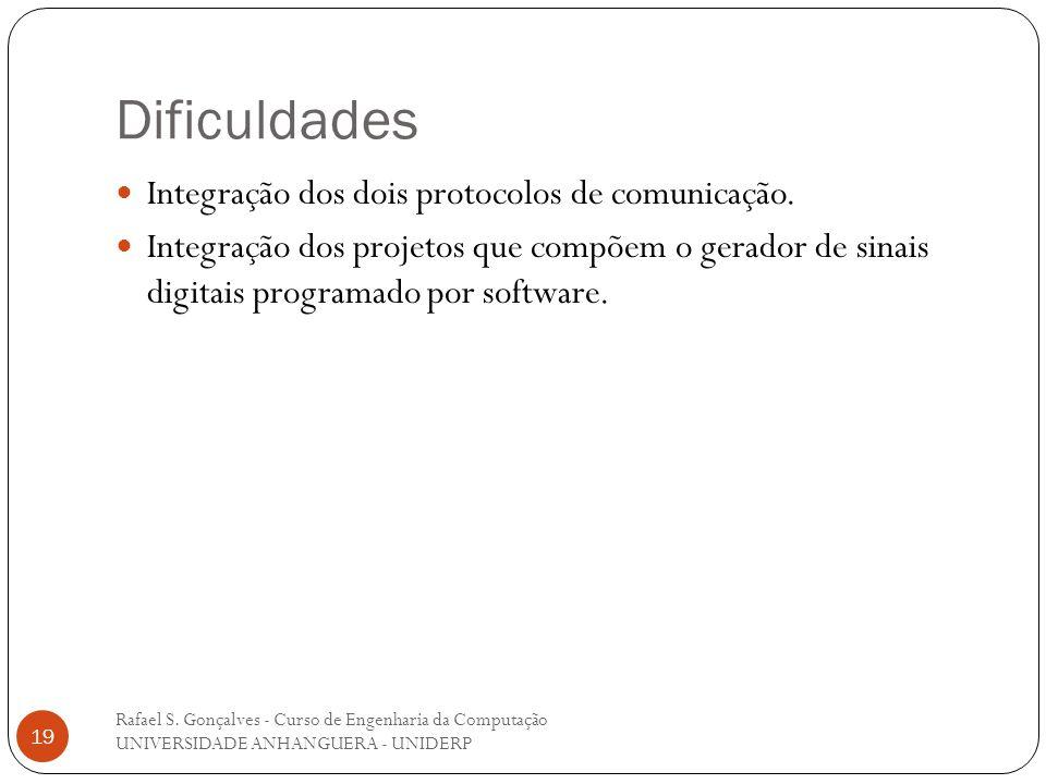 Dificuldades Rafael S. Gonçalves - Curso de Engenharia da Computação UNIVERSIDADE ANHANGUERA - UNIDERP 19 Integração dos dois protocolos de comunicaçã