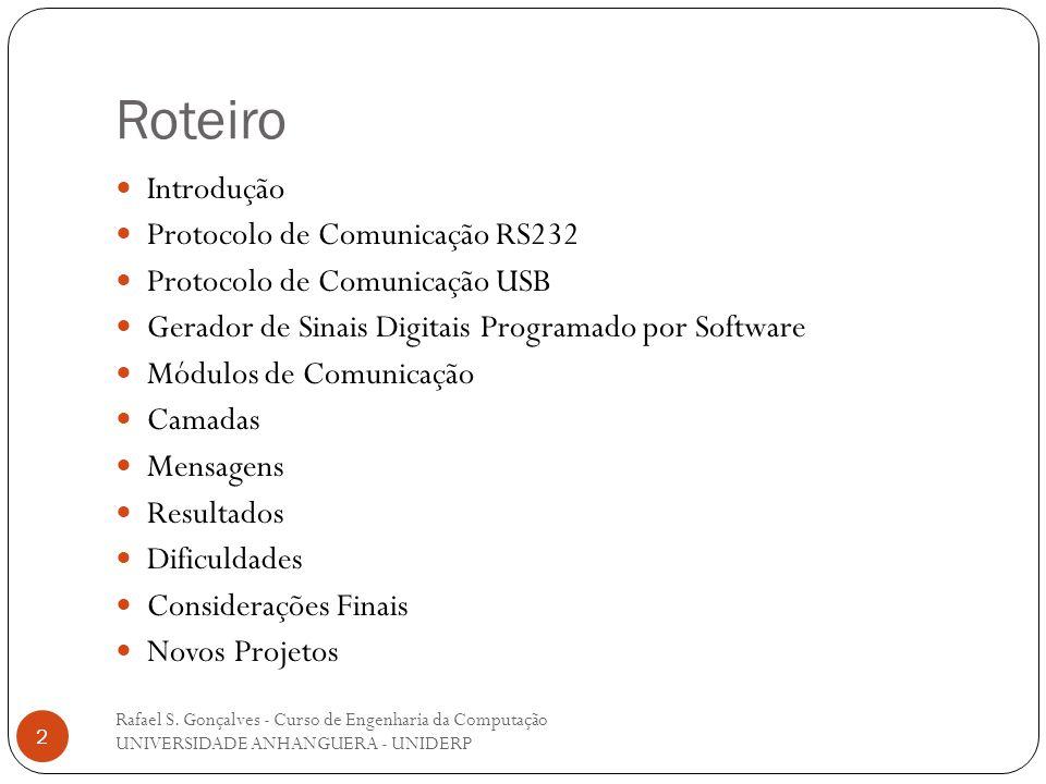 Roteiro Rafael S. Gonçalves - Curso de Engenharia da Computação UNIVERSIDADE ANHANGUERA - UNIDERP 2 Introdução Protocolo de Comunicação RS232 Protocol