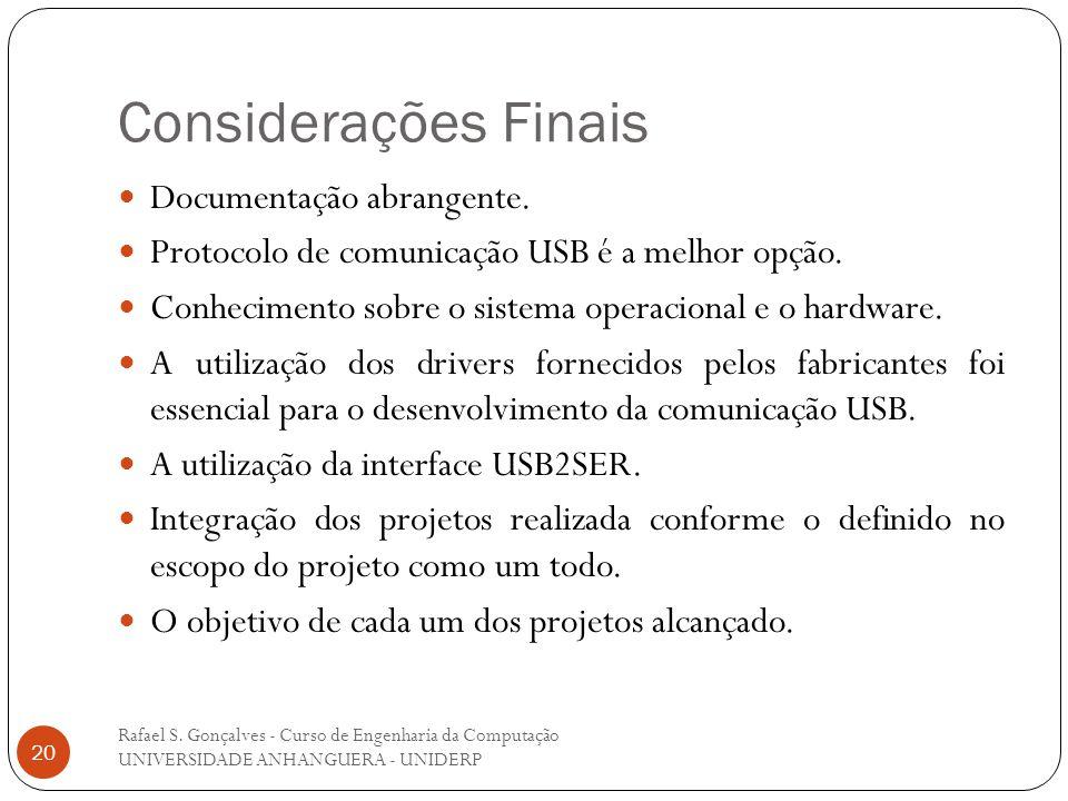 Considerações Finais Rafael S. Gonçalves - Curso de Engenharia da Computação UNIVERSIDADE ANHANGUERA - UNIDERP 20 Documentação abrangente. Protocolo d